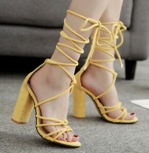 Women-Block-High-Heel-Lace-Up-Strappy-Sandals-Gladiator-Peep-Toe-Sexy-Shoes-Size