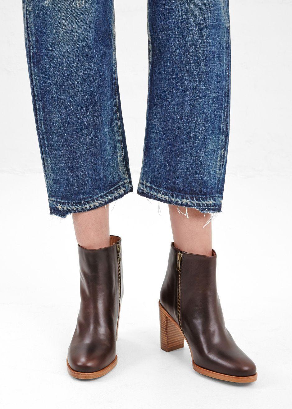 negozio outlet APC Rachel Marrone Leather Ankle stivali stivali stivali 3.5  stacked heel Inside Zip  migliore offerta
