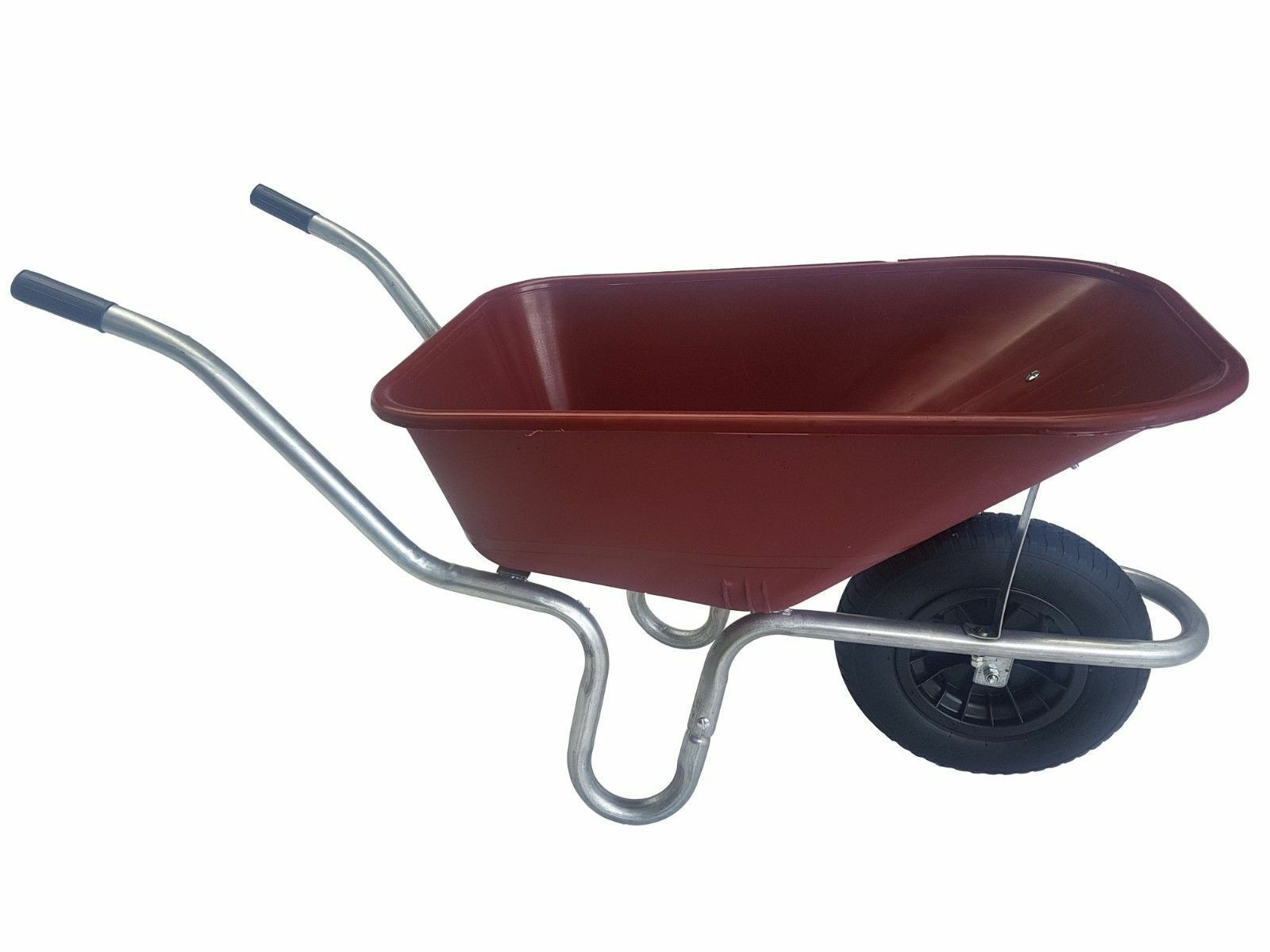 LARGE 110 LITRE WHEELBARROW WITH 14  PUNCTURE PROOF WHEEL - BURGUNDY
