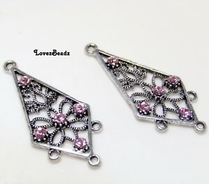 Silver chandelier earring components with pink swarovski crystals image is loading silver chandelier earring components with pink swarovski crystals mozeypictures Gallery