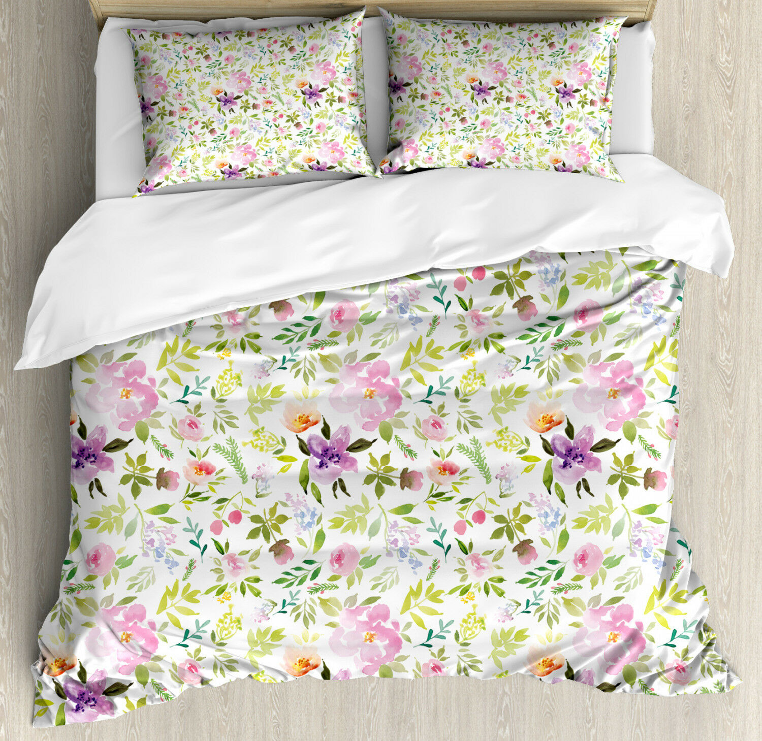 Watercolor Duvet Cover Set with Pillow Shams Gentle Spring Floral Print