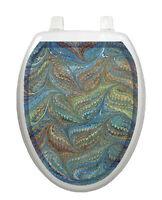 Toilet Tattoos Toilet Seat Decor Victorian Feathers Bathroom Decoration Blue