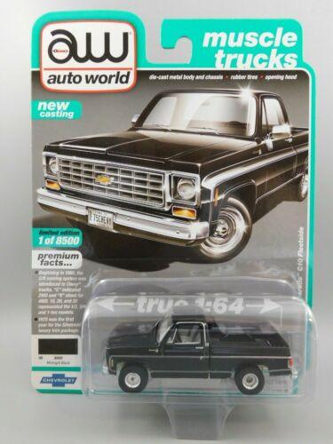 Auto World 1975 Gloss Black Chevy Silverado C10 Fleet Side Pickup Truck 1:64