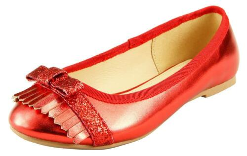 Girl/'s Dress Shoes Flat Slip On Metallic 3 Colors w// Bow Fringe Red Silver Gold