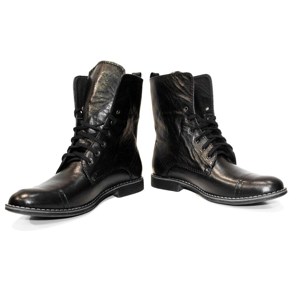 Model Kamon - Handgefertigt Bunt Italienisches Leder Schuhe Hoch Stiefel Schwarz