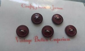 5-Pretty-Burgundy-Vintage-2-hole-Baby-Sewing-Buttons-approx-12mm