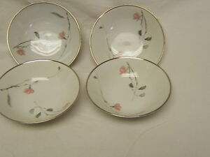 Rosenthal-Japanese-Quince-Platinum-Fruit-Dessert-Bowls-Lot-of-4-Excellent-Cond