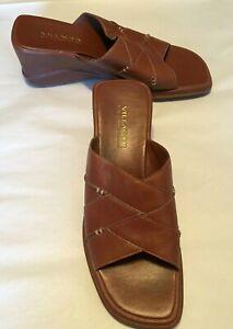 Villager-Women-039-s-Shoes-Brown-Leather-Slide-Sandal-3-034-Wedge-Heel-Size-8M