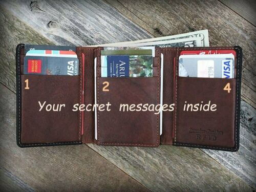 Leather Wallet Personalized Engraved Mens Trifold RFID Men Gift Black Toffee