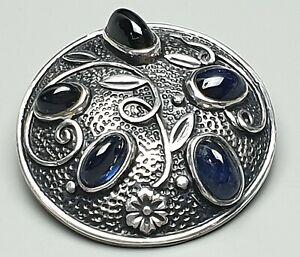 Antike-935-Silber-Brosche-20er-Jahre-5-grosse-natuerl-Saphir-Cabochons-besetzt-F6