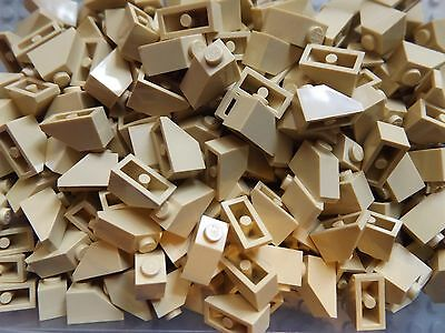 50 LEGO Brand New 45 2 x 1 Tan Brick Slope Roof Tile No.3040 House Build