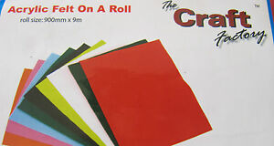 Craft-Factory-Acrylic-Felt-off-Roll-1-2m-Red-Green-White-Black-Brown-Orange