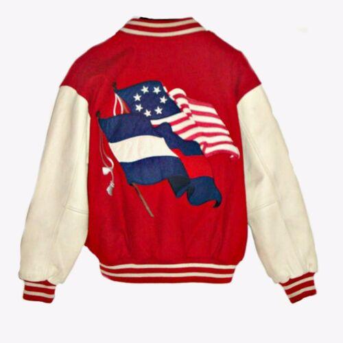 wol W M Sz lederen 2 VTG vlaggen sleeves en jack blauwe roodwitte Varsity fqxFnwEa8