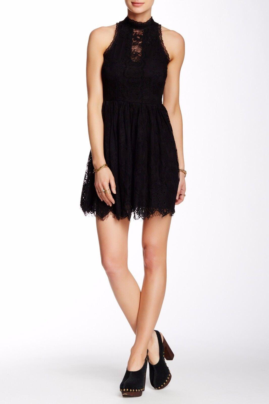 NWT  Free People Woherren Lace Verushka Mini Dress schwarz [SZ 0]