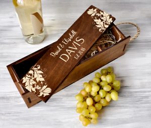 Details About Wedding Ceremony Wine Box Anniversary Gift For Couple Personalized Wine Box