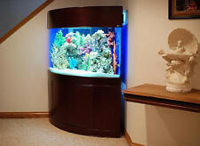 105 gallon AquaVim corner glass aquarium, w/real wood furniture, reef ready