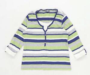 M-amp-Co-Womens-Size-XL-Striped-Cotton-Blend-Multi-Coloured-Top-Regular