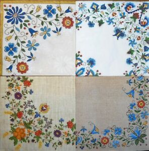 4 x Single Paper Napkins Blue Flowers Folklore for Decoupage Crafting Table 8