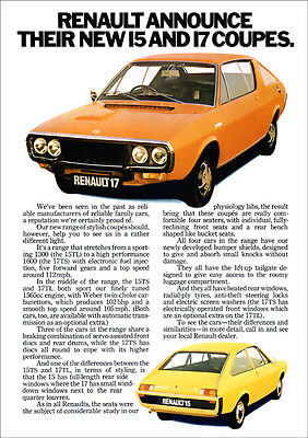 RENAULT 17 & RENAULT 15 COUPE RETRO A3 POSTER PRINT FROM CLASSIC 70'S ADVERT