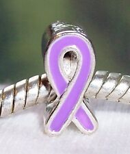 Lavender Purple Awareness Ribbon Silver Plated Bead fits European Charm Bracelet