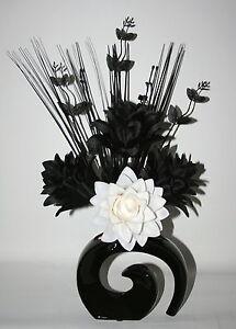 Artificial Silk Flowers Black White Dragon Flower Arrangement In
