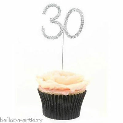 11cm Silver Diamante Jewel 30th Birthday Number 30 Party Sparkle Snack Pick