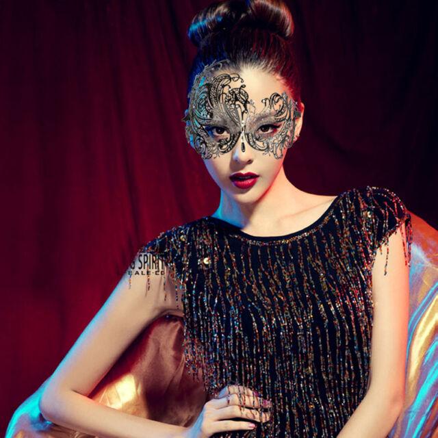 Sexy Princess Rhinestone Masquerade Mask Laser Cut Black Metal Party Ball New