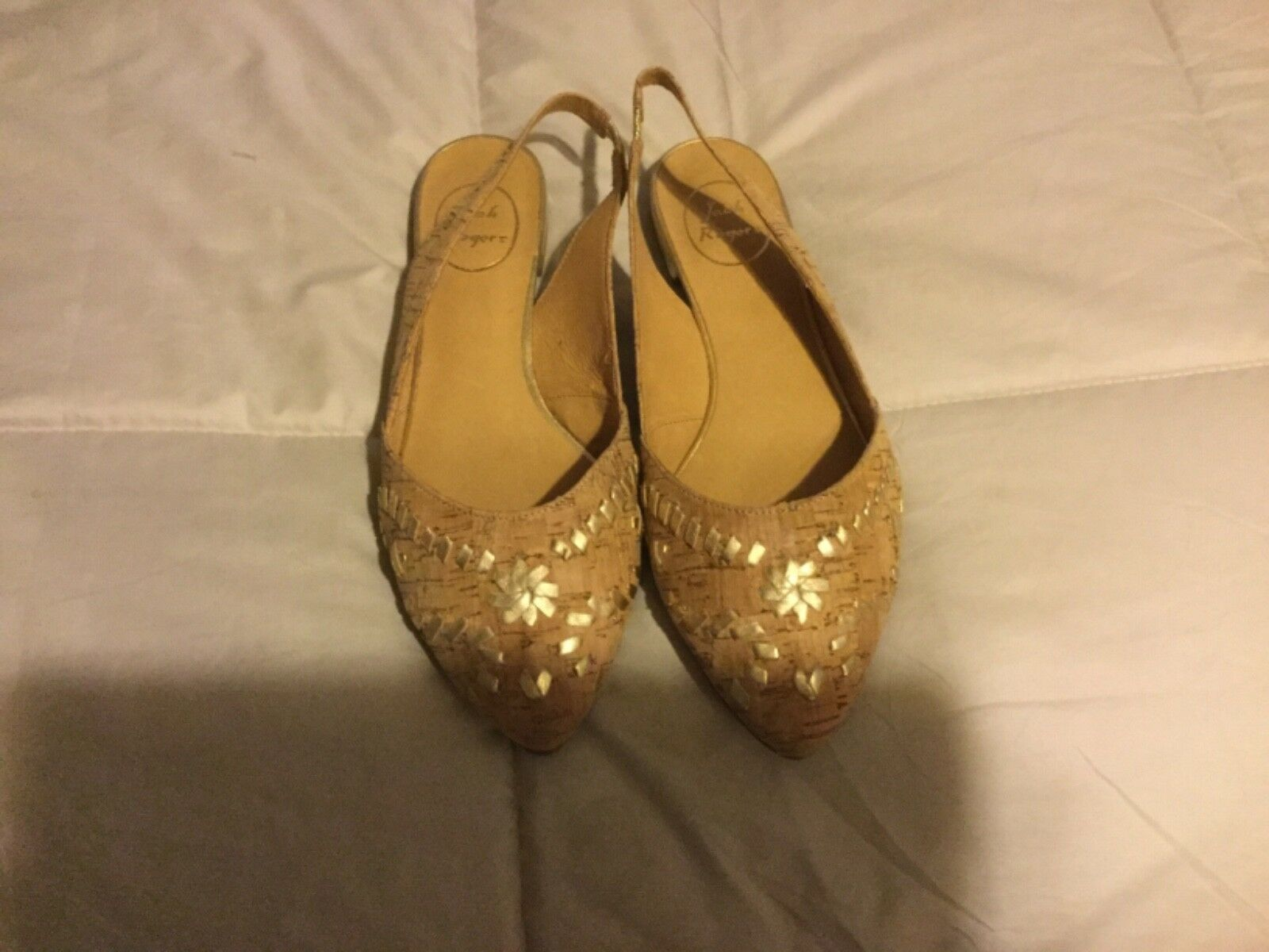 Jack Slingback Rogers Cork  Gold Pointed Toe Slingback Jack Shoes/Flats-Size 8M-'Rory' 9 1/2M 5fa5cd