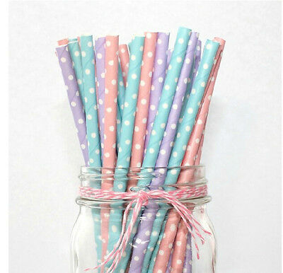 25/50/100pcs Biodegradable Paper Drinking Straws Dot Birthday Wedding Party