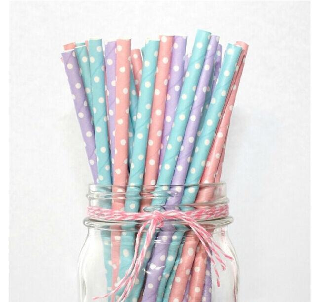 25/50/100pcs Biodegradable Paper Drinking Straws Dot Birthday Wedding Party