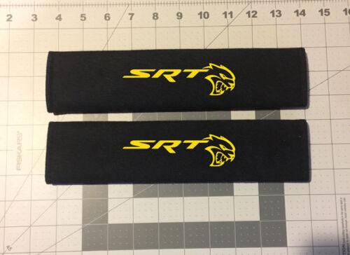 Custom Embroidered SRT Hellcat Design Black Seat Belt Cover Set New Item!