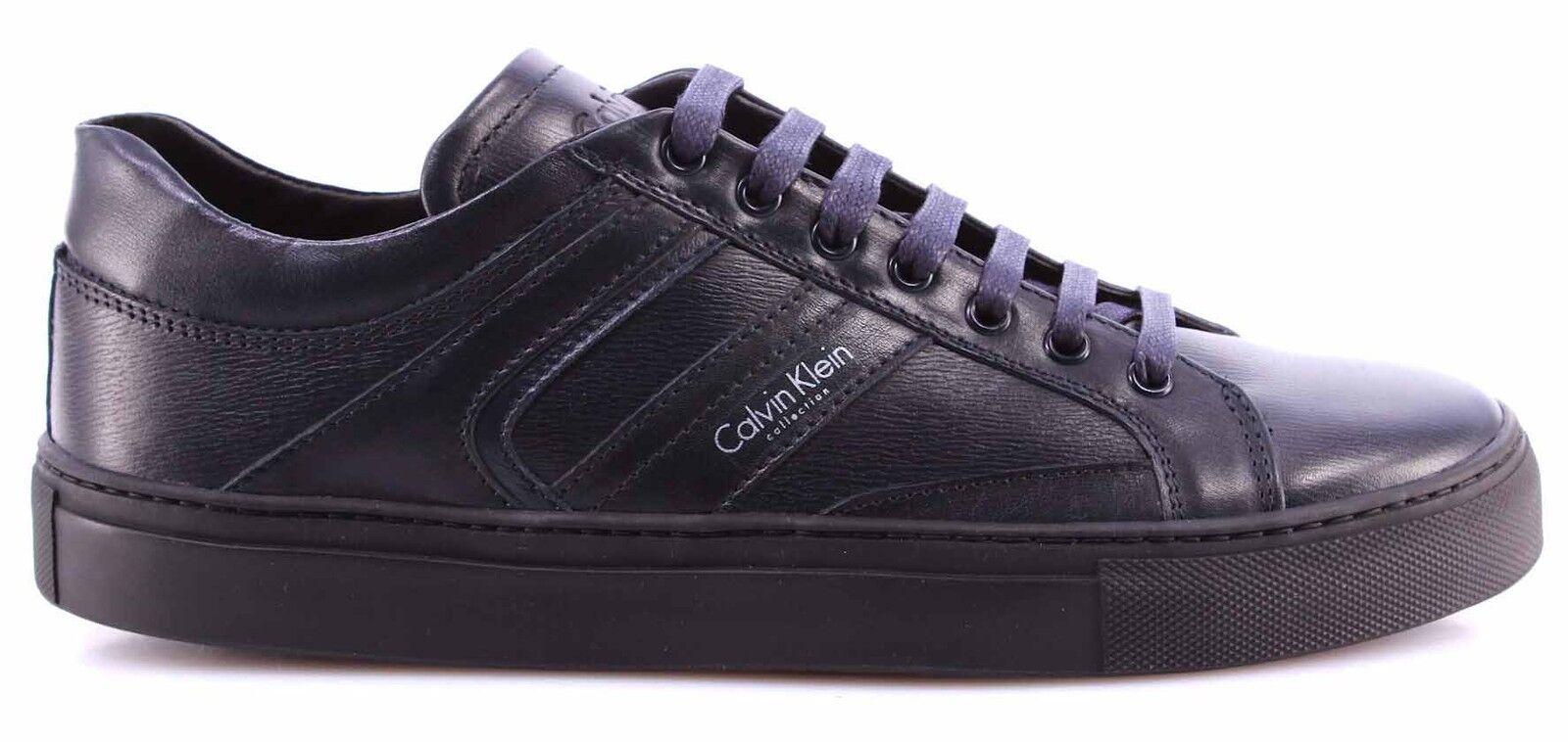Herren Schuhe Sneakers CALVIN KLEIN Collection 4065-051 Grafic Blu Blau Leder