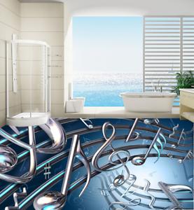 Nota Musical de arte 3D 6 Impresión De Parojo Papel Pintado Mural de piso 5D AJ Wallpaper Reino Unido Limón