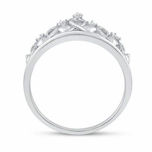 Details about  /Sterling Silver Womens Round Diamond Tiara Crown Princess Band Ring 1//20 Cttw