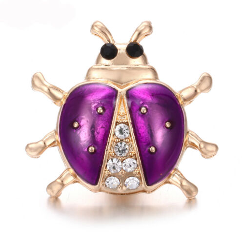 5X Mignon Beetle Cristal Chunk Charm Snap Bouton fit 18 mm perceuse Noosa Bijoux Cadeau