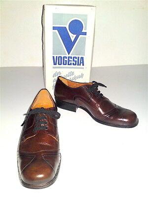 Ehrlich Neue Vogesia Vintage Herren Schuhe Gr.:44 Braune Leder Schnürschuhe Ledersohle Herausragende Eigenschaften