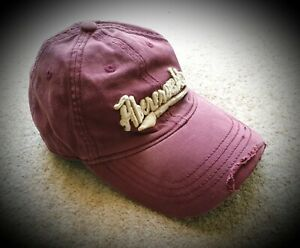 ABERCROMBIE-NEW-YORK-Maroon-Distressed-Baseball-Cap-Boys-size-L-XL-50cm
