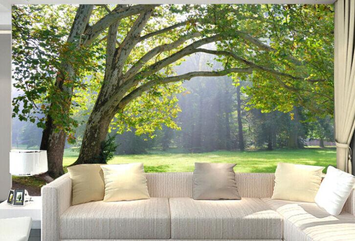 3D üppigen bäumen, Sonne 5 Fototapeten Wandbild Fototapete BildTapete Familie DE