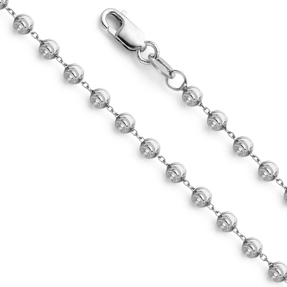 14K White gold 1.9 mm 2.4 mm 2.9 mm Moon Cut Ball Pendant Chain 16-22