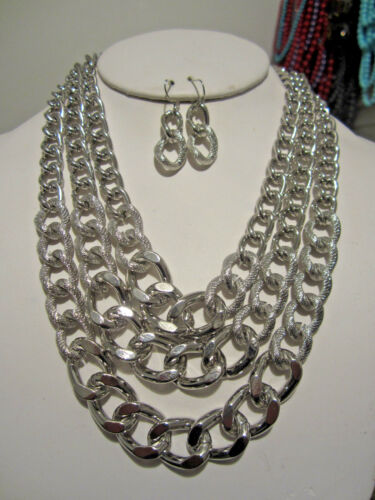Three Layers Silver Tone Link Gradual Necklace Earring Set