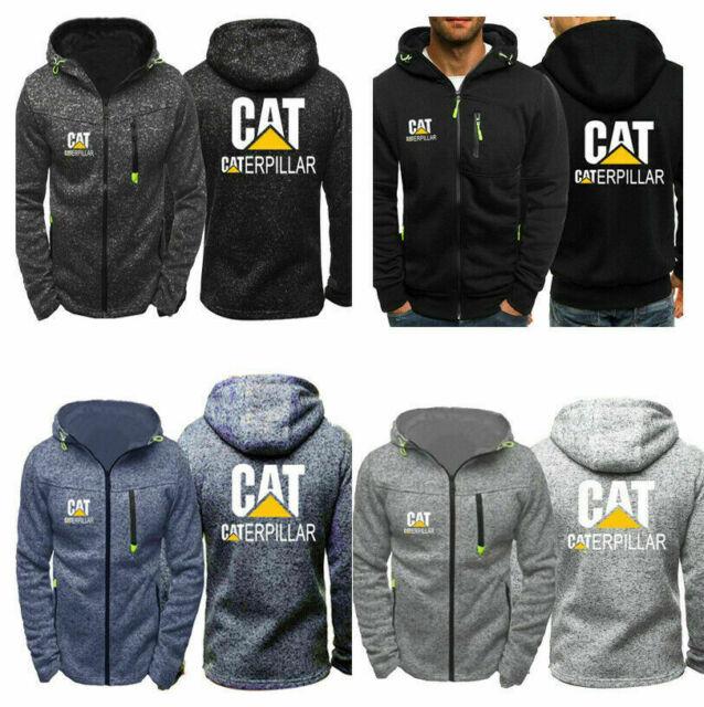 Men's Caterpillar Power Print Hoodies Jacket CAT Logo Sweatshirt Zipper Up Coat