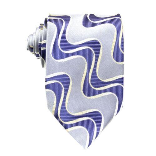 D.berite Man/'s Blue Gray Waves Wedding Groom Classical  Woven Tie Necktie BP40