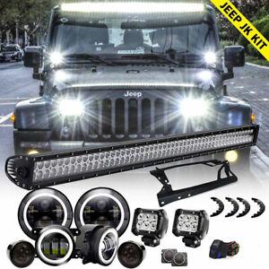 Details About For Jeep Wrangler Jk 52 Led Light Bar 4 Pods 7 Headlights Fog Turn Fender