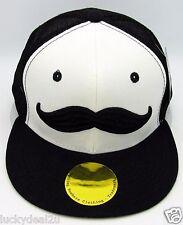 MOUSTACHE Snapback Cap Hat Mustache Mesh Trucker Hat Flat Bill Black White NWT