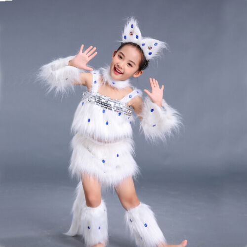 Girl Faux Fur Costume Cat Animal Cosplay Party Clothes Sequin Shiny Show Set