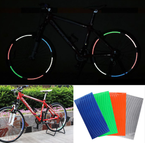 Motorcycle Bicycle Reflective Stickers Reflector Security Wheel Rim Decal Tapes