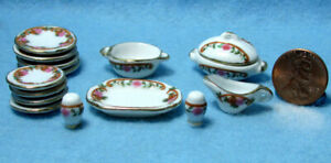 Dollhouse-Miniature-Dinnerware-Set-with-Plates-amp-Servers-Flowers-15-Pcs-P406