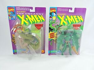 BROOD-and-SAURON-Uncanny-X-Men-1993-Toy-Biz-LOT-of-2-Figures-MOC-Evil-Mutants