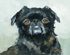 Original Oil painting - portrait of a pug dog  - by j payne