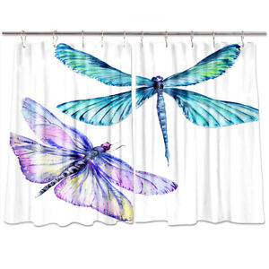 Insect Dragonfly Watercolor Style Kitchen Curtains Window Drapes 2 Panels Set Ebay